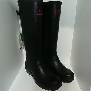 Joules Welly print black raindrop size 7
